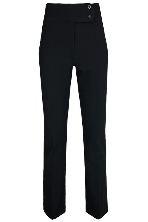 Ladies 2 Button High Waist Trousers – Black