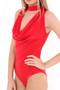 Red Choker Neck Bodysuit Top