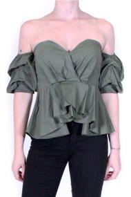 Khaki Ruffle Of The Shoulder Top, Luv2nv.com,