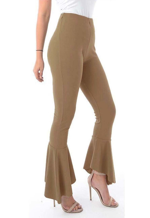 Camel Frill Hem Trousers, Luv2nv Trousers,
