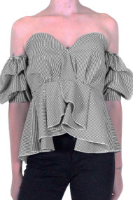 Gingham Ruffle Off The Shoulder Top, Luv2nv Tops,