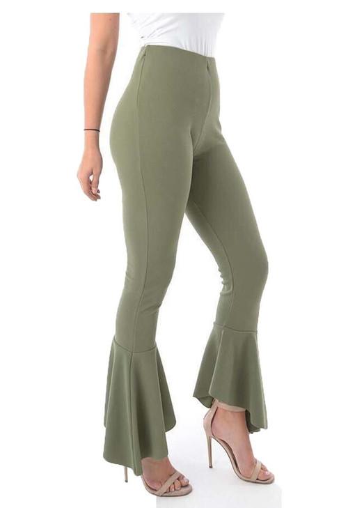 Khaki Frill Hem Trousers, Luv2nv Trousers,