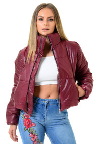Wine Crop Zip Up Puffer Jacket, Puffer Jacket, Crop Puffer Jacket, Luv2nv Jackets,