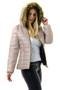 Beige Fur Trim Hood Puffer Jacket
