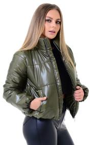 Olive Crop Zip Up Puffer Jacket