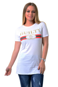 Pippa GUILTY Slogan Top-White