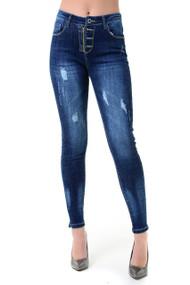 Della Zip Fly Button Skinny Jeans