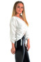 Kerri Satin Twist Knot Front Top - White