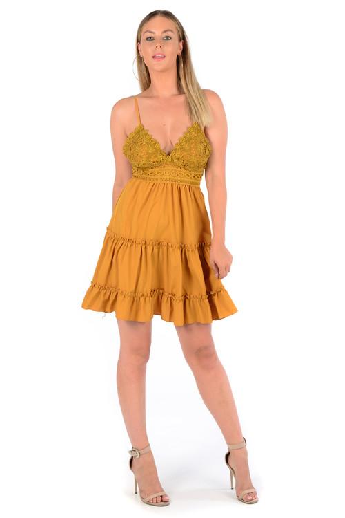 Mustard Lace Tiered Dress, Lace Mustard Dress, Mustard Dress,