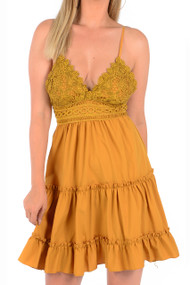 Mustard Lace Tiered Dress, Lace Mustard Dress, Mustard Dress,
