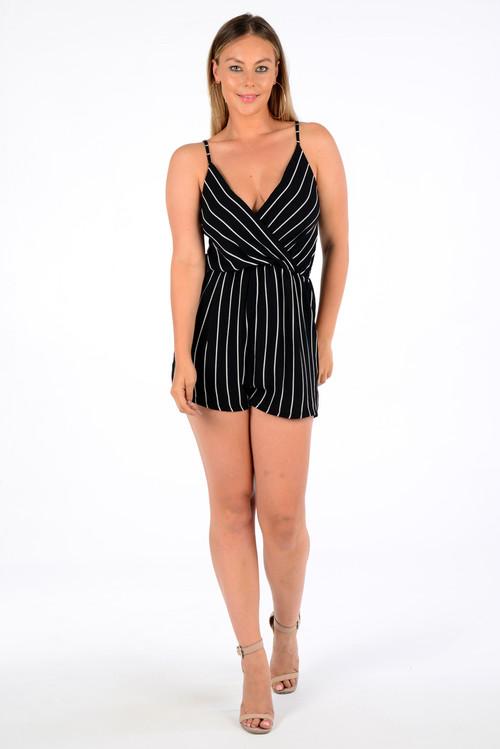 Mia Black Stripe Play Suit,