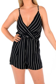 Mia Black Stripe Play Suit,