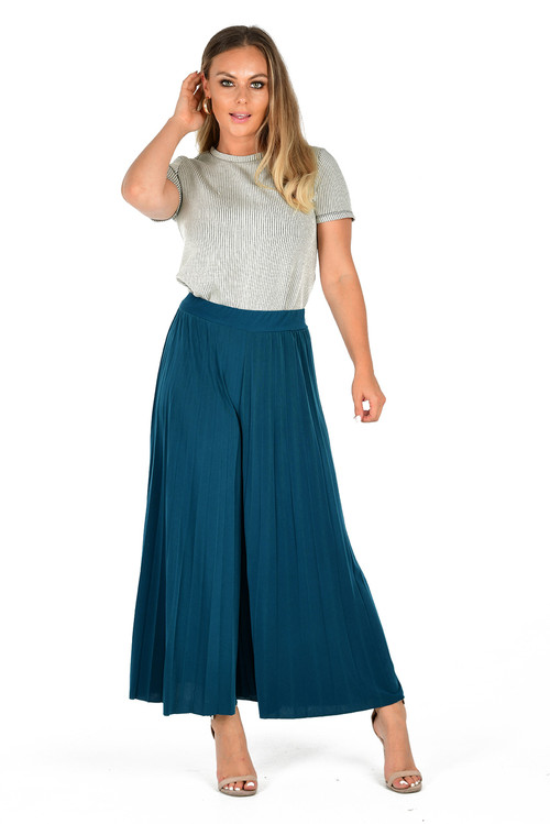 Teal Pleated Culottes, Ladies Culottes, Ladies Blue Culottes,