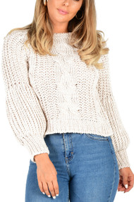 Beige Cable Balloon Sleeve Jumper , Beige Cable Knit Jumper,  Cable Knit Crop Jumper,