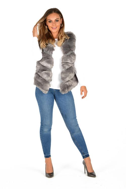 Grey Fur Chevron Gilet , Fur Gilet, Faux Fur Gilet, Grey Fur Gilet,