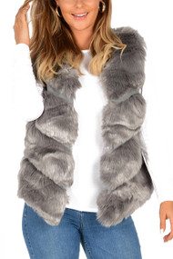 Grey Fur Chevron Gilet , Fur Gilet, Faux Fur Gilet, Grey Fur Gilet,