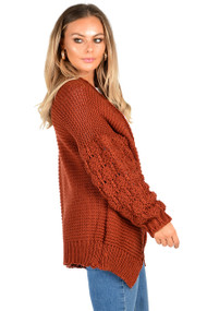 Rust Bobble Sleeve Cardigan, Rust Cardigan, Bobble Cardigan,  Bobble Knitted Cardigan, Rust Cardigan,