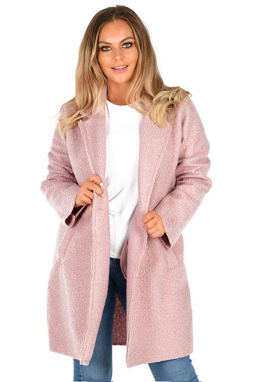 Pink Crombie Coat , Pink Button Coat, Pink Coat,