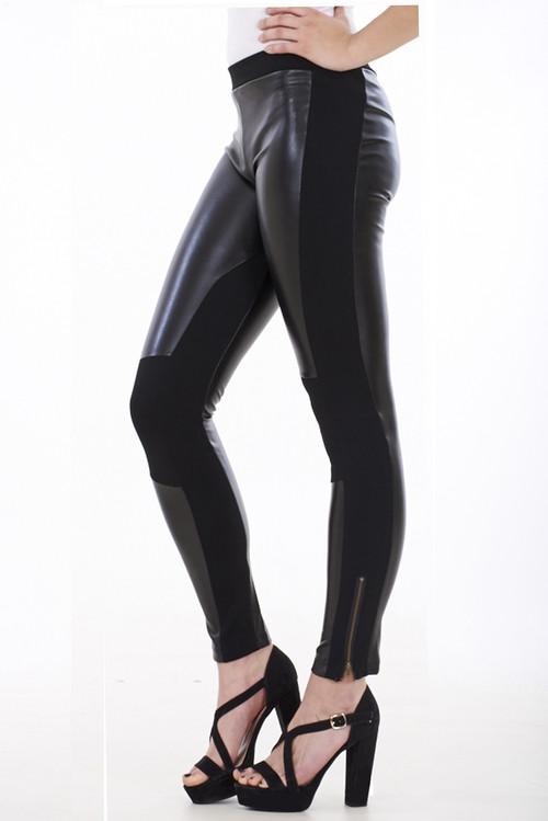 Leather Look Pannel Leggings, Faux Leather Leggings, Luv2nv, Black Wet Look Leggings,