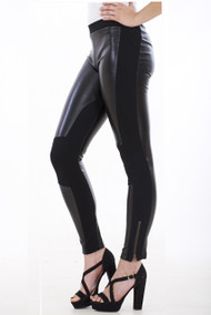 Leather Look Pannel Leggings, Faux Leather Leggings, Luv2nv, Black Wet Look Leggings,
