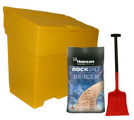 Brown Rock Salt, Grit Bin & Shovel