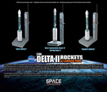Dragon Space Delta II Rockets w/Launch Pads - 3 rockets by set 1/400 DW56394