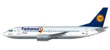 """Herpa Snap-Fit Lufthansa """"Fanhansa"""" Boeing 737-300 1/180 611220"""