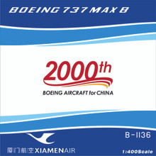 Panda Models Xiamen Air Boeing 737-8Max B-1136 2000th Boeing Aircraft for China 1/400