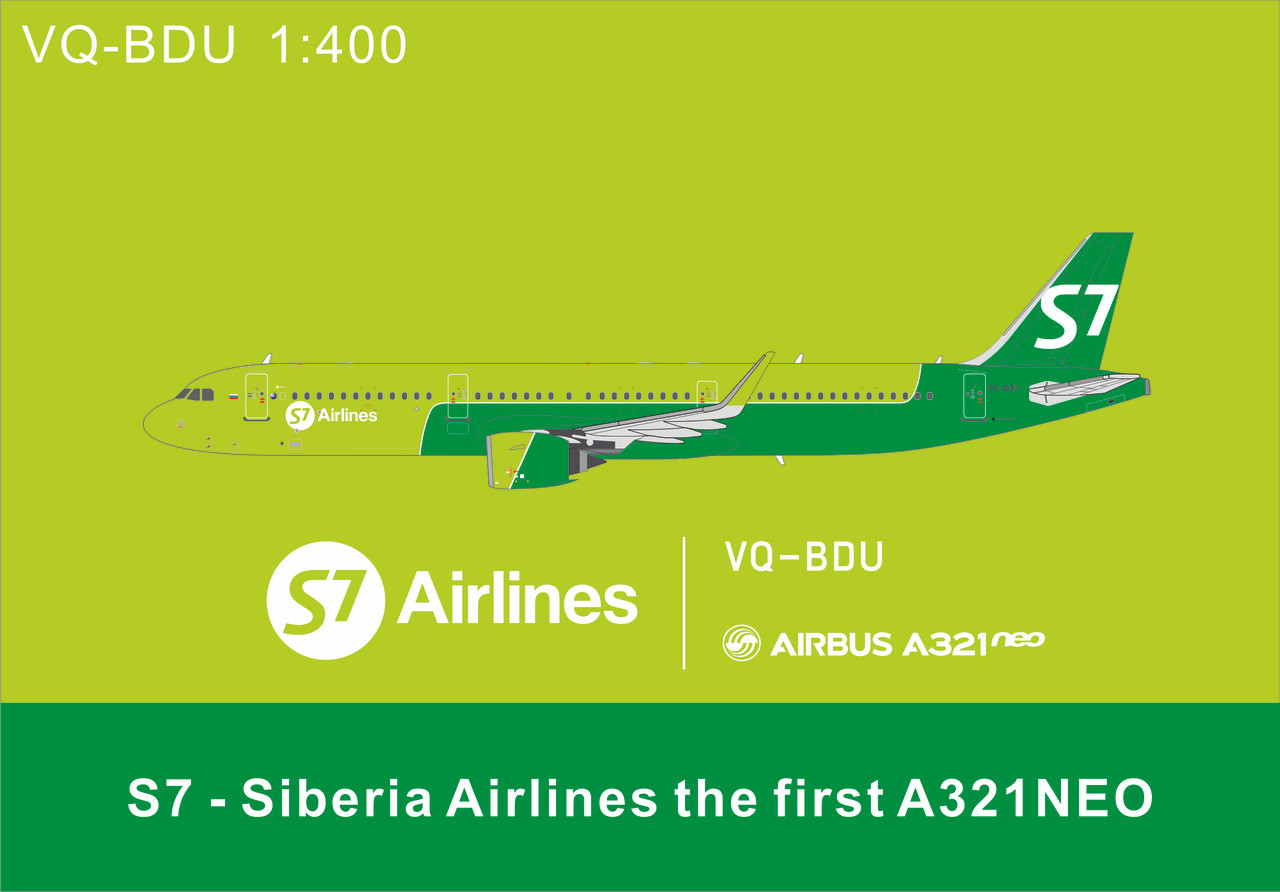 Panda Models S7 Airlines Airbus A321Neo VQ-BDU 1/400