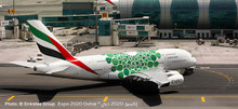 """Herpa Emirates Airbus A380 Expo 2020 Dubai, """"Sustainability"""" livery A6-EOW 1/500 533522"""