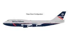GeminiJets British Airways Boeing 747-400 Retro Landor Livery 'Flaps Down' G-BNLY 1/200 G2BAW840F