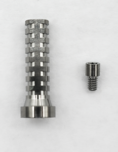 Titanium temporary cylinder with final screw (part CSM)  for Hiossen and Megagen Anyridge compatible multiunit abutments.
