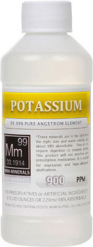 Potassium comes in 8, 16 and 128 ounce bottles.