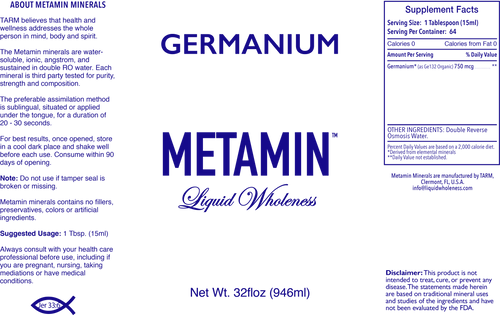 Germanium comes in 16, 32 or 128 ounce sizes, just right for your personal needs.