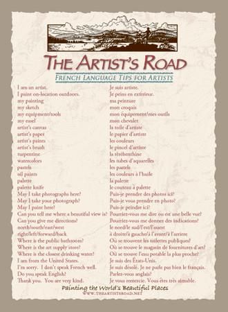French Language Tips Card for Artists