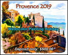 Provence, France  Watercolor Painting Holiday - Deposit