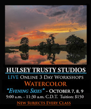 October 7, 8 & 9, 9-11:30 AM CDT - Live Watercolor Painting Workshop: Evening Skies