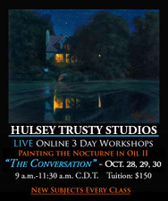 October 28, 29 & 30, 9-11:30 AM CDT - Live Oil Painting Workshop: Nocturnes II - The Conversation