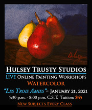 January 21, 5:30 PM - 8:00 PM CST - Watercolor Evening with John Hulsey - Les Trois Amies