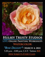 March 4, 2021, 5:30 PM - 8:00 PM CST - Thursday Evening Watercolor with John Hulsey - Rose Delight