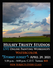 April 29 2021, 5:30 PM - 8:00 PM CDT - Thursday Evening Watercolor with John Hulsey - Stormy Sunset