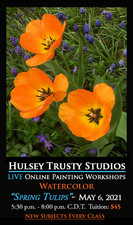 May 6,  2021, 5:30 PM - 8:00 PM CDT - Thursday Evening Watercolor with John Hulsey - Spring Tulips