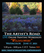 June 17,  2021, 5:30 PM - 8:00 PM CDT - Thursday Evening Watercolor with John Hulsey - Wildflowers