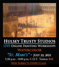 July 22, 2021, 5:30 PM - 8:00 PM CDT - Thursday Evening Watercolor Painting with John Hulsey - St. Mark's