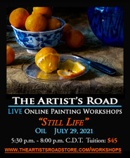 July 29, 2021, 5:30 PM - 8:00 PM CDT - Thursday Evening Oil Painting with John Hulsey - Still Life in Orange and Blue No. 2