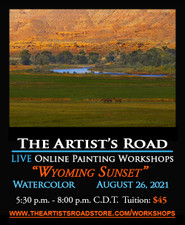 August 26, 2021, 5:30 PM - 8:00 PM CDT - Thursday Evening Watercolor Painting with John Hulsey - Wyoming Sunset