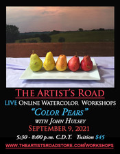September 9, 2021, 5:30 PM - 8:00 PM CDT - Thursday Evening Watercolor Painting with John Hulsey - Color Pears