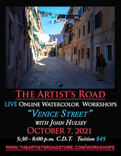 October 7, 2021, 5:30 PM - 8:00 PM CDT - Thursday Evening Watercolor Painting with John Hulsey - Venice Street