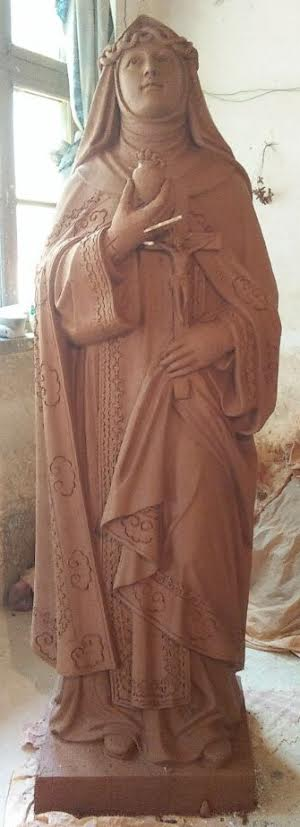 St Catherine of Sienna Marble statue clay mould