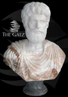 DETAILED CARVINGS ON THS HAND CARVED MARBLE BUST OF ROMAN MAN